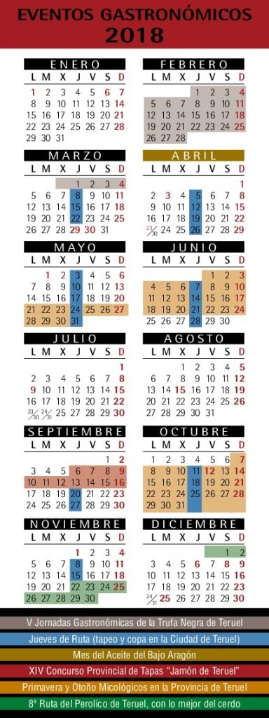 Calendario eventos gastronómicos Teruel